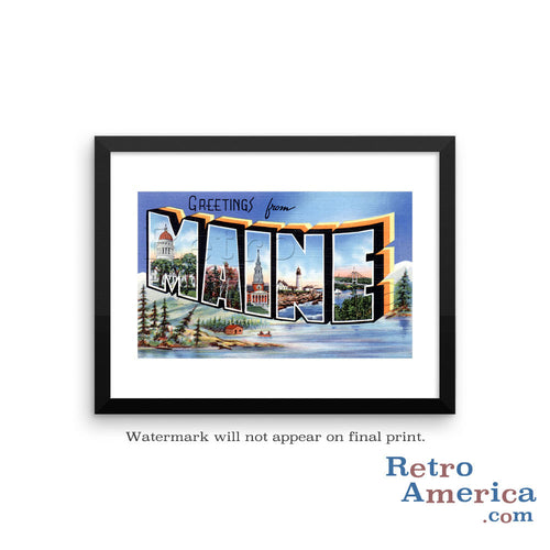 Greetings from Maine ME 2 Postcard Framed Wall Art