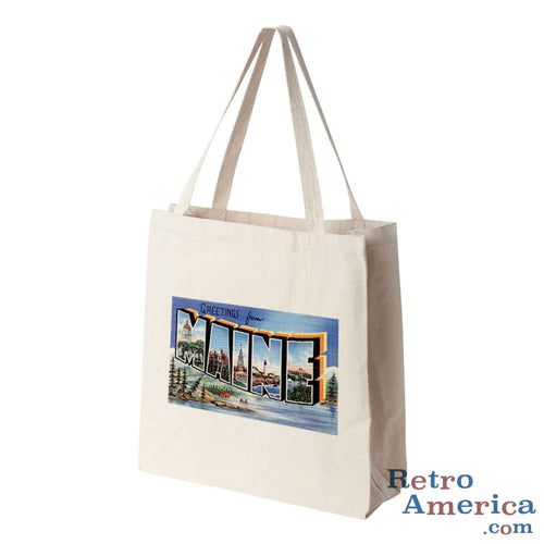 Greetings from Maine ME 2 Postcard Tote Bag