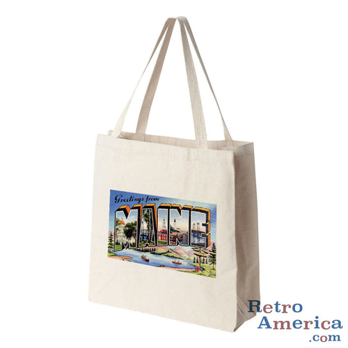 Greetings from Maine ME 3 Postcard Tote Bag