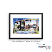 Greetings from Maine ME 3 Postcard Framed Wall Art