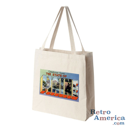 Greetings from Maine ME 4 Postcard Tote Bag