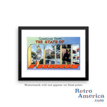 Greetings from Maine ME 4 Postcard Framed Wall Art