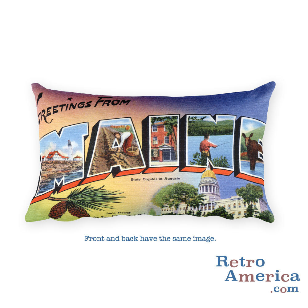 Greetings from Maine Throw Pillow 1