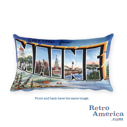 Greetings from Maine Throw Pillow 2