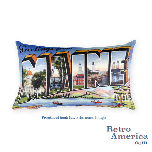 Greetings from Maine Throw Pillow 3
