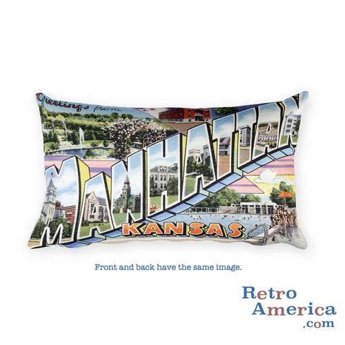 Greetings from Manitowoc And Two Rivers Wisconsin Throw Pillow