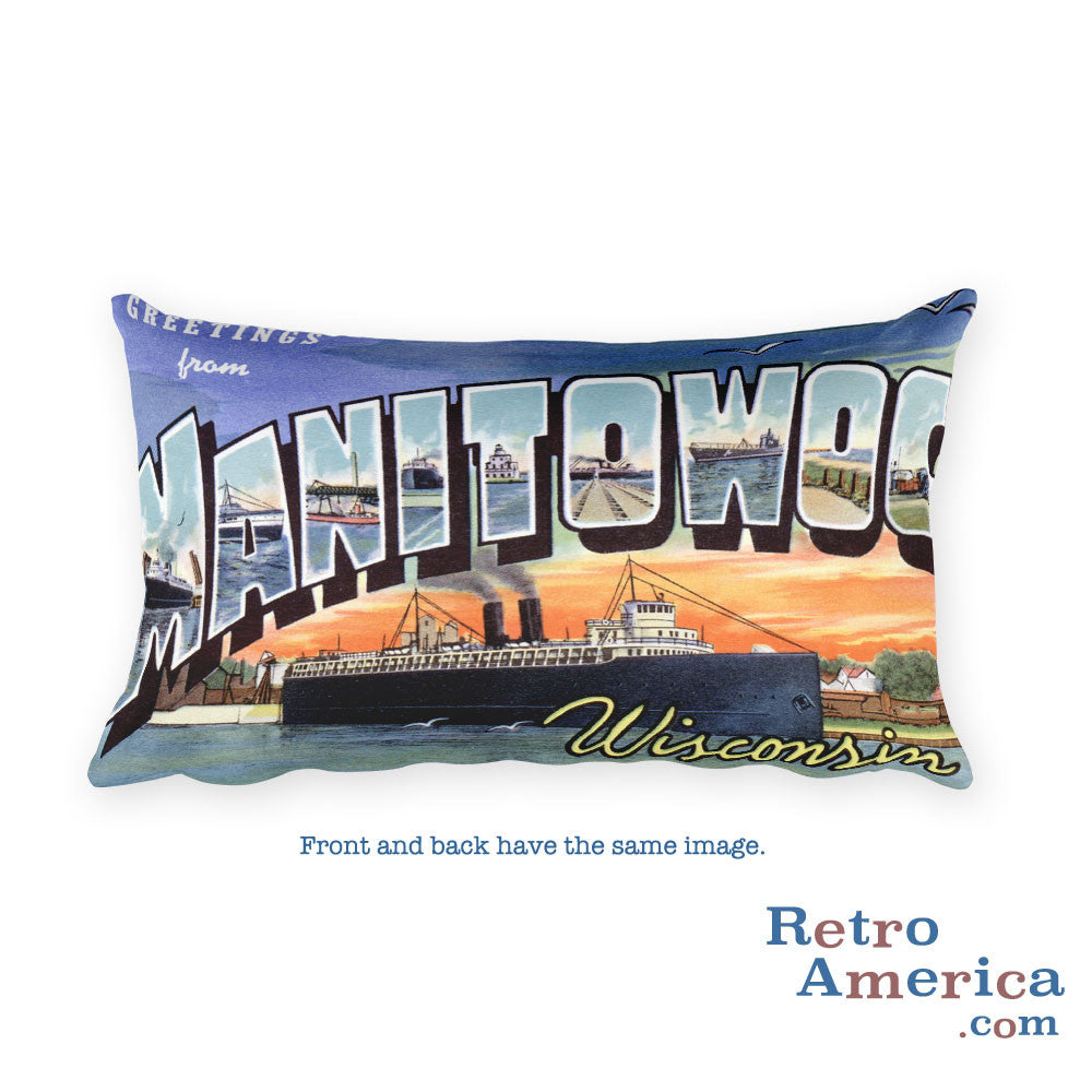 Greetings from Manitowoc Wisconsin Throw Pillow