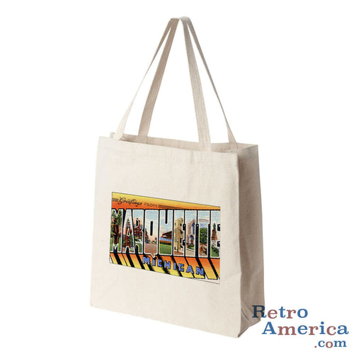 Greetings from Marquette Michigan MI Postcard Tote Bag