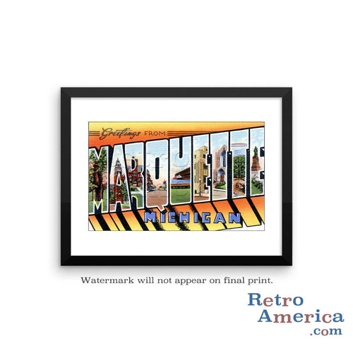 Greetings from Marquette Michigan MI Postcard Framed Wall Art