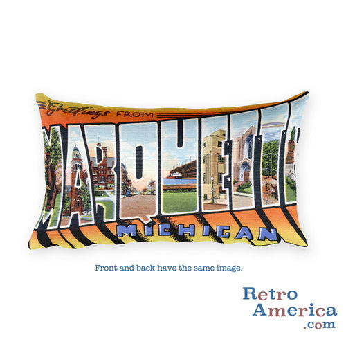 Greetings from Marquette Michigan Throw Pillow