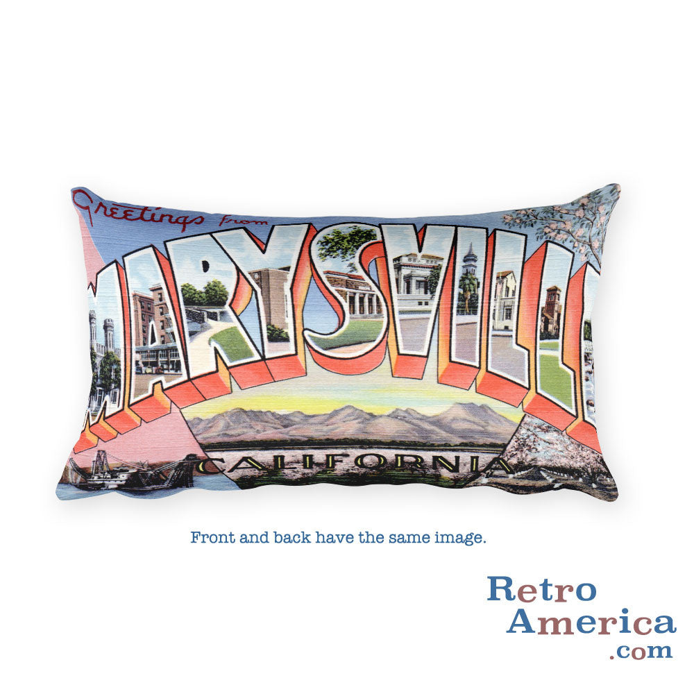 Greetings from Marysville California Throw Pillow