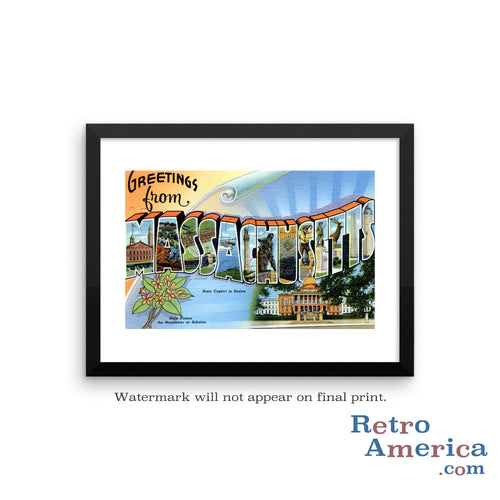 Greetings from Massachusetts MA 1 Postcard Framed Wall Art