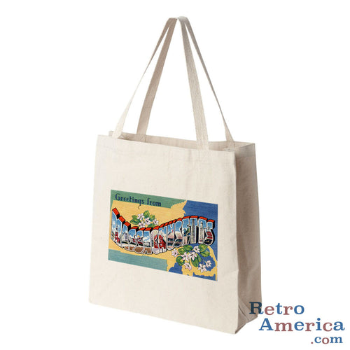 Greetings from Massachusetts MA 2 Postcard Tote Bag