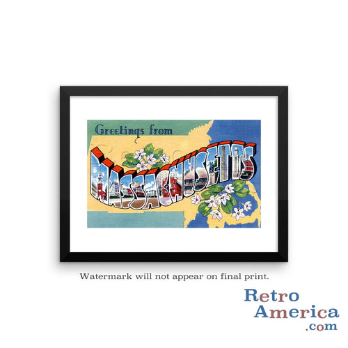 Greetings from Massachusetts MA 2 Postcard Framed Wall Art