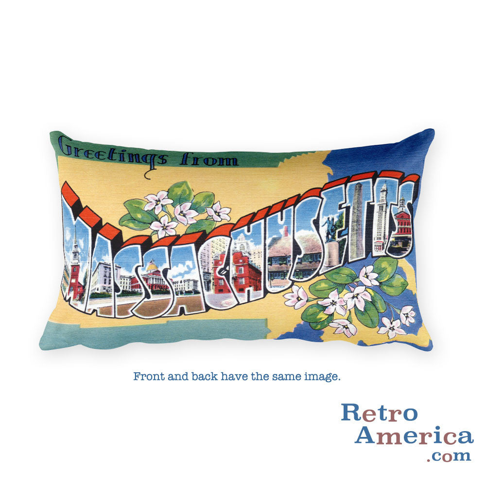 Greetings from Massachusetts Throw Pillow 2