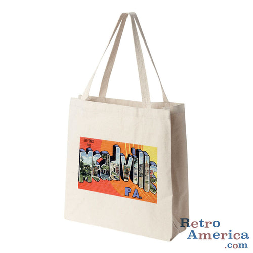 Greetings from Meadville Pennsylvania PA Postcard Tote Bag