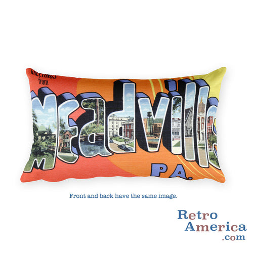 Greetings from Meadville Pennsylvania Throw Pillow