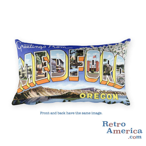Greetings from Medford Oregon Throw Pillow