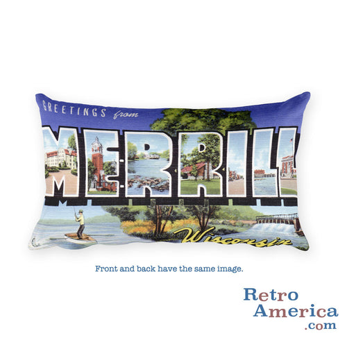Greetings from Merrill Wisconsin Throw Pillow