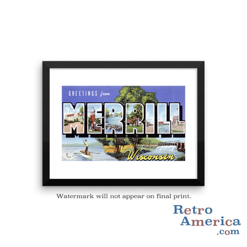 Greetings from Merrill Wisconsin WI Postcard Framed Wall Art