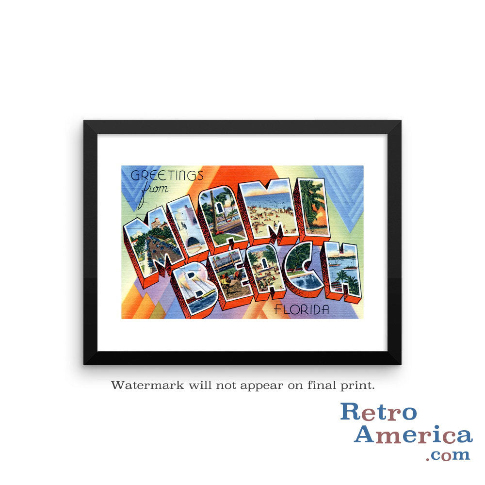Greetings from Miami Beach Florida FL 2 Postcard Framed Wall Art
