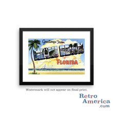 Greetings from Miami Beach Florida FL 3 Postcard Framed Wall Art