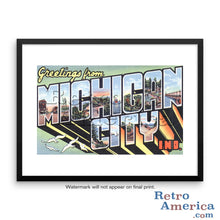 Greetings from Michigan City Indiana IN Postcard Framed Wall Art