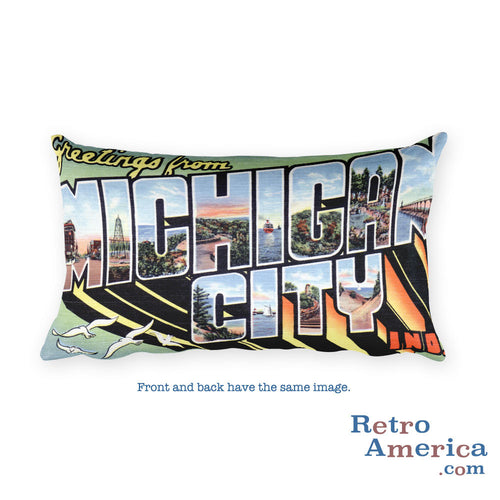 Greetings from Michigan City Indiana Throw Pillow
