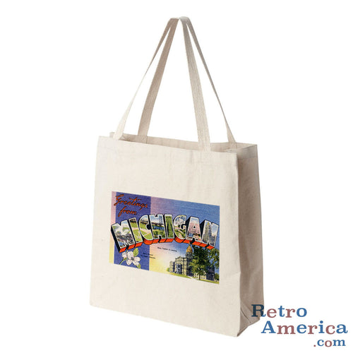 Greetings from Michigan MI 1 Postcard Tote Bag
