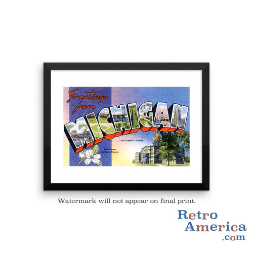 Greetings from Michigan MI 1 Postcard Framed Wall Art
