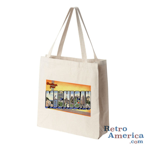 Greetings from Michigan MI 2 Postcard Tote Bag