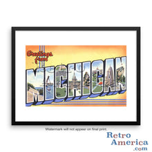 Greetings from Michigan MI 2 Postcard Framed Wall Art