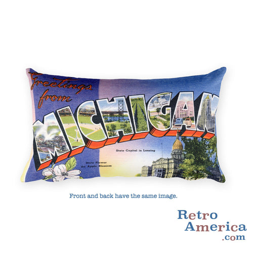 Greetings from Michigan Throw Pillow 1