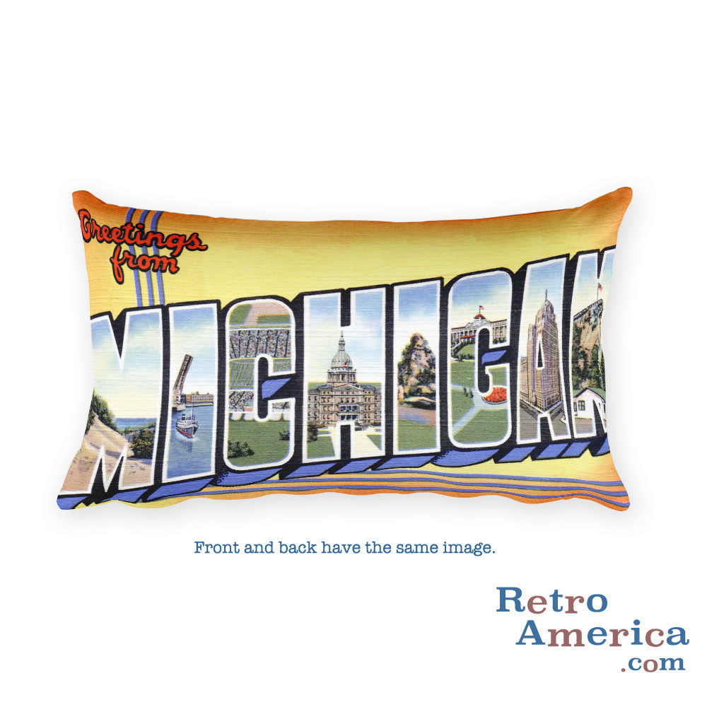 Greetings from Michigan Throw Pillow 2