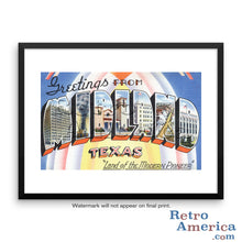 Greetings from Midland Texas TX Postcard Framed Wall Art