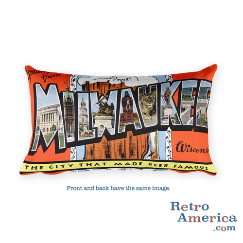 Greetings from Milwaukee Wisconsin Throw Pillow 1