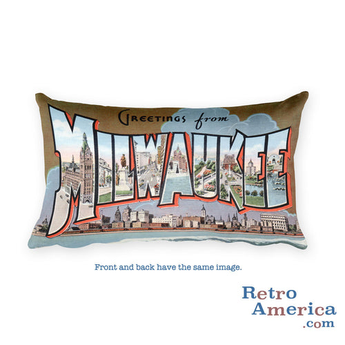 Greetings from Milwaukee Wisconsin Throw Pillow 2