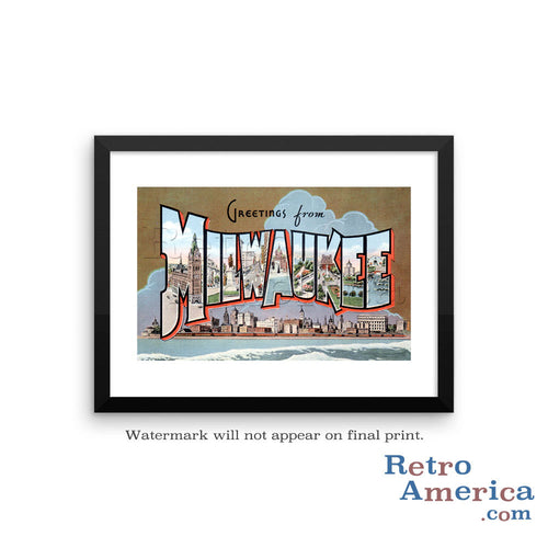 Greetings from Milwaukee Wisconsin WI 1 Postcard Framed Wall Art