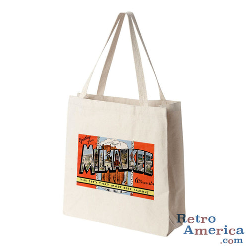 Greetings from Milwaukee Wisconsin WI 2 Postcard Tote Bag