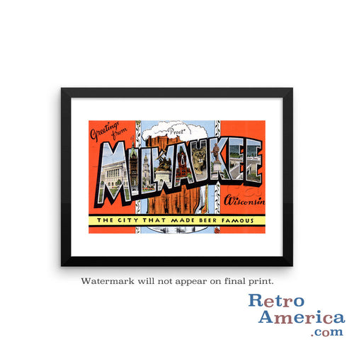 Greetings from Milwaukee Wisconsin WI 2 Postcard Framed Wall Art