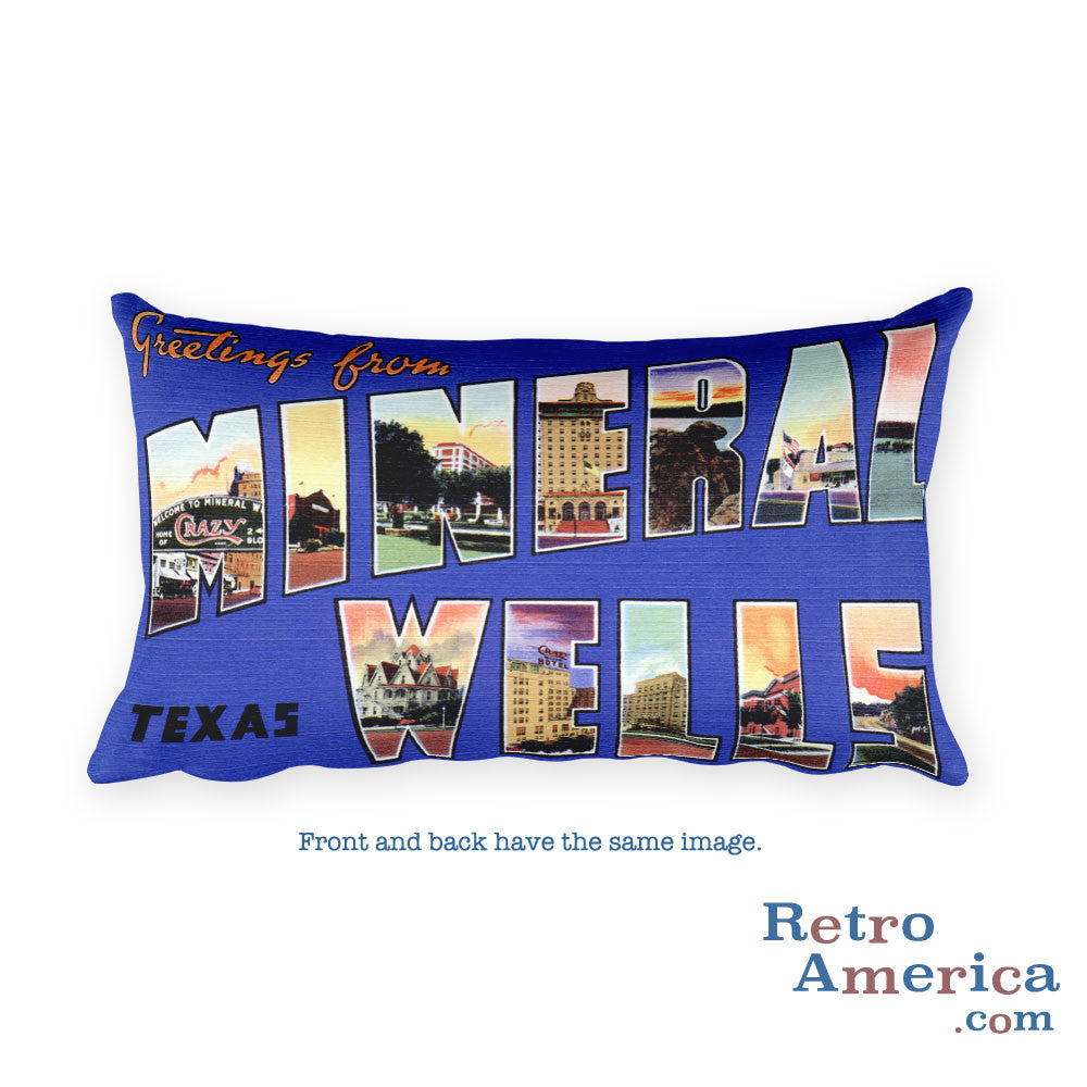 Greetings from Mineral Wells Texas Throw Pillow