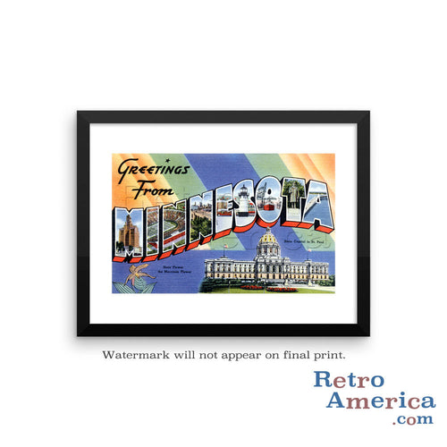 Greetings from Minnesota MN 1 Postcard Framed Wall Art