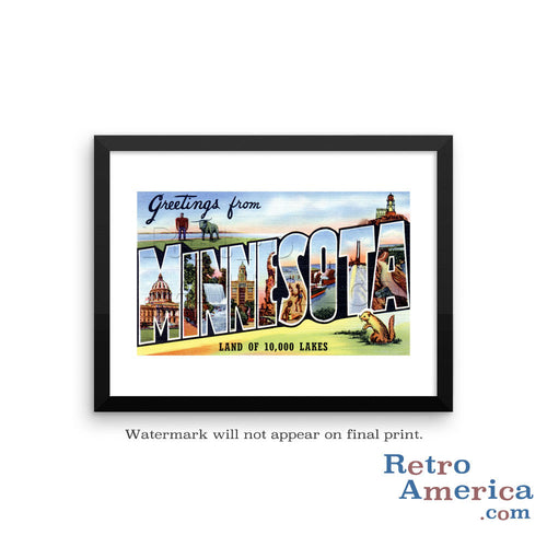 Greetings from Minnesota MN 2 Postcard Framed Wall Art