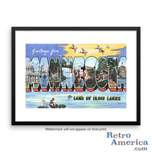 Greetings from Minnesota MN 4 Postcard Framed Wall Art