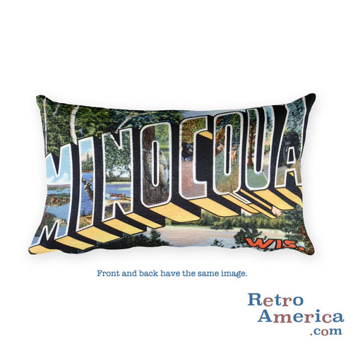 Greetings from Minocqua Wisconsin Throw Pillow