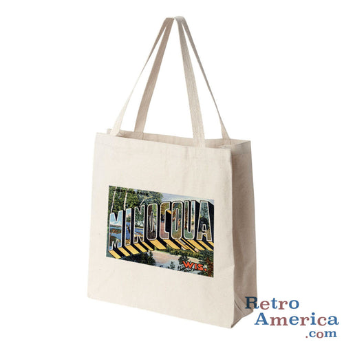Greetings from Minocqua Wisconsin WI Postcard Tote Bag