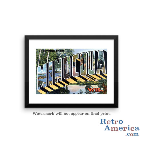 Greetings from Minocqua Wisconsin WI Postcard Framed Wall Art