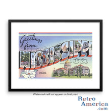 Greetings from Mississippi Ms Postcard Framed Wall Art