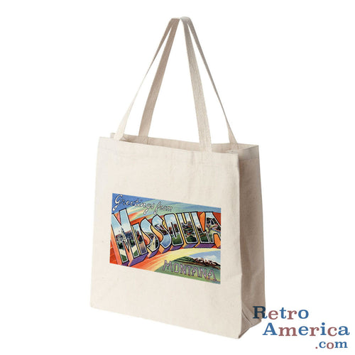 Greetings from Missoula Montana MT Postcard Tote Bag
