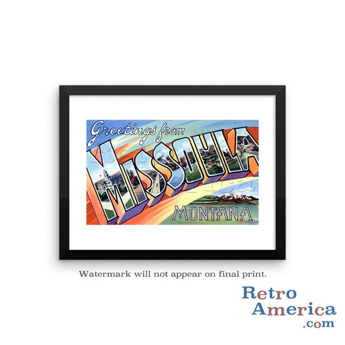Greetings from Missoula Montana MT Postcard Framed Wall Art